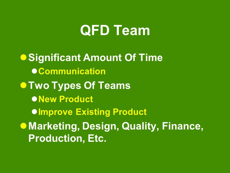 QFD Team Significant Amount Of Time Two Types Of Teams