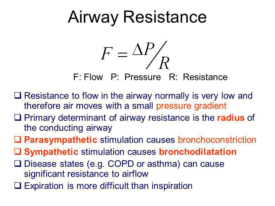 Airway Resistance F: Flow P: Pressure R: Resistance