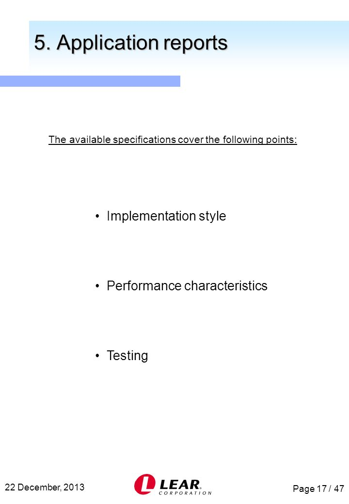 The available specifications cover the following points: