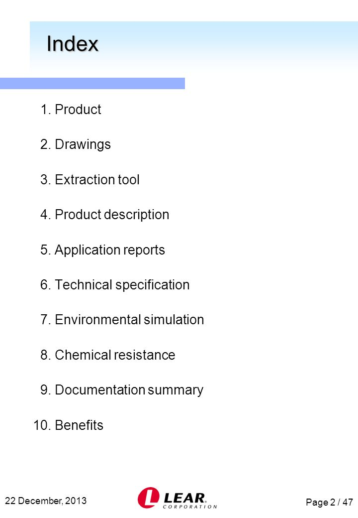 Index 1. Product 2. Drawings 3. Extraction tool 4. Product description