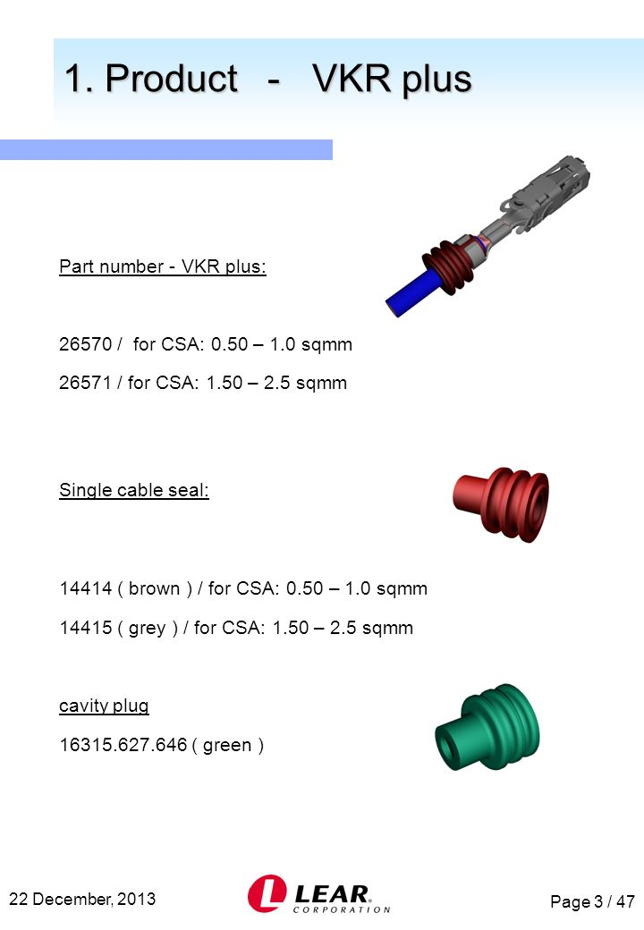1. Product - VKR plus Part number - VKR plus: