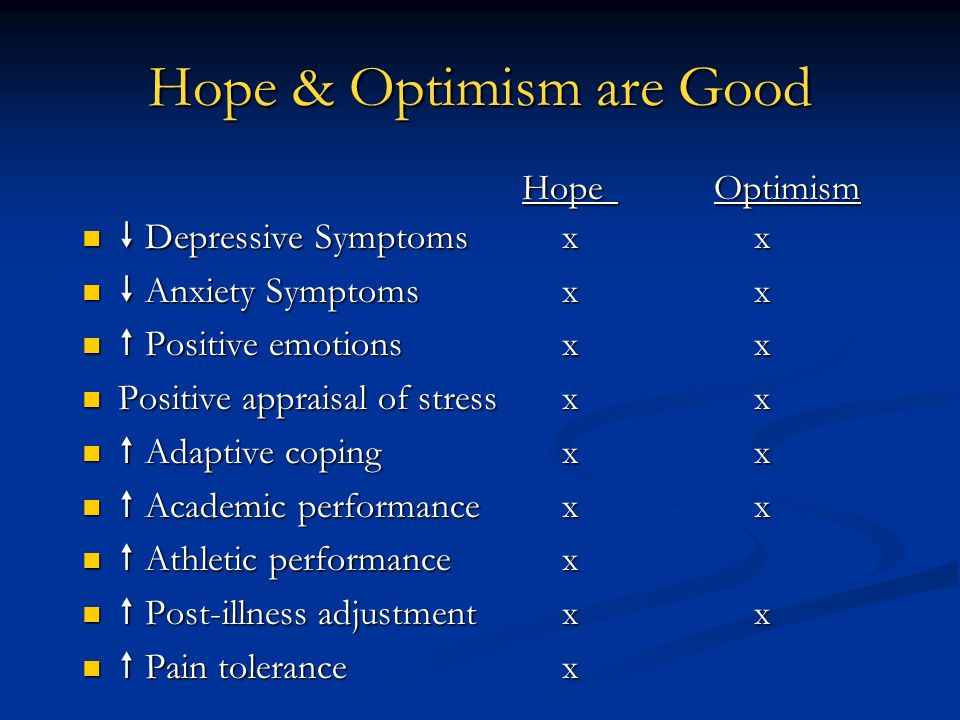 Hope & Optimism are Good