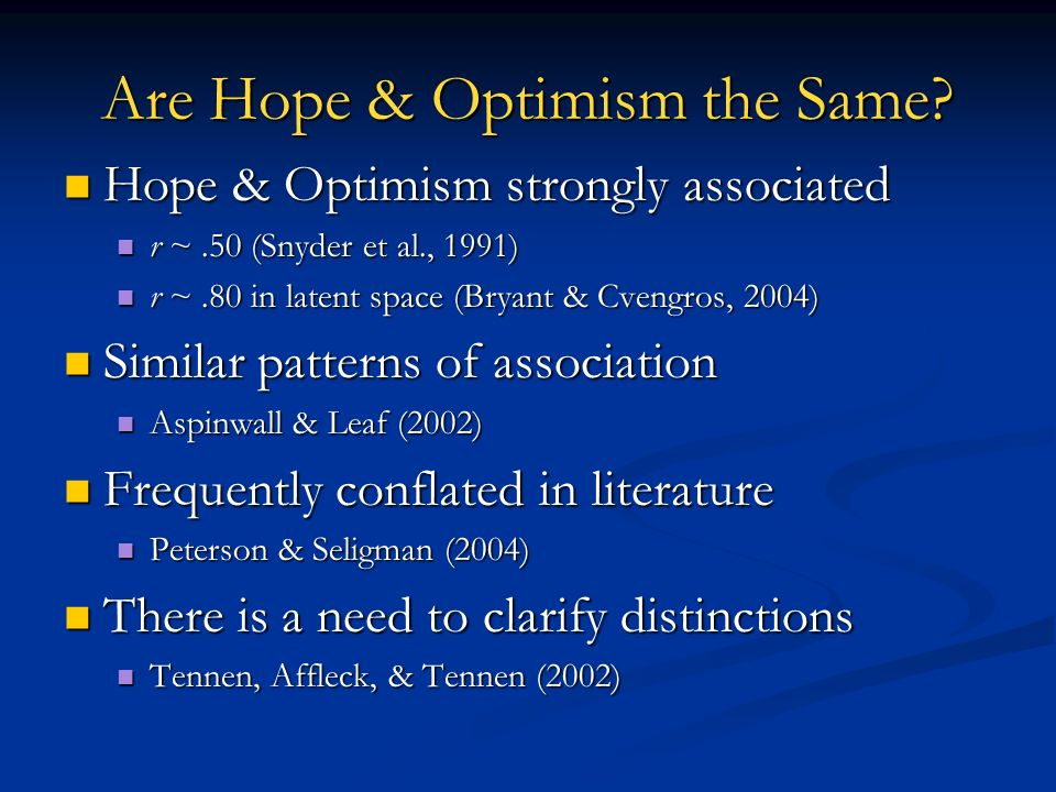 Are Hope & Optimism the Same