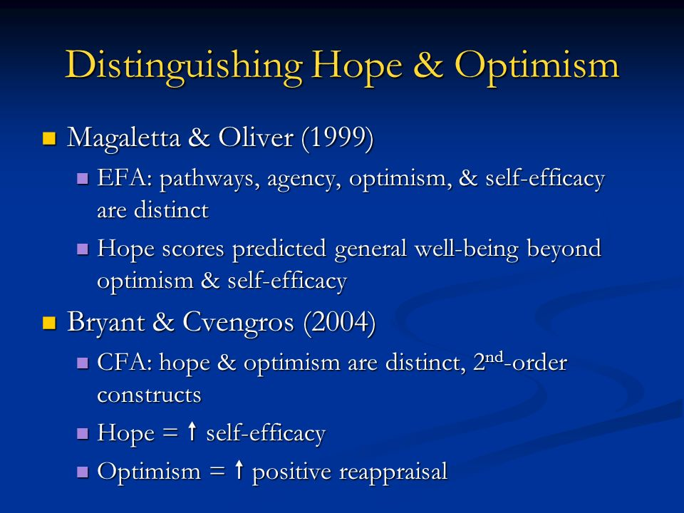 Distinguishing Hope & Optimism