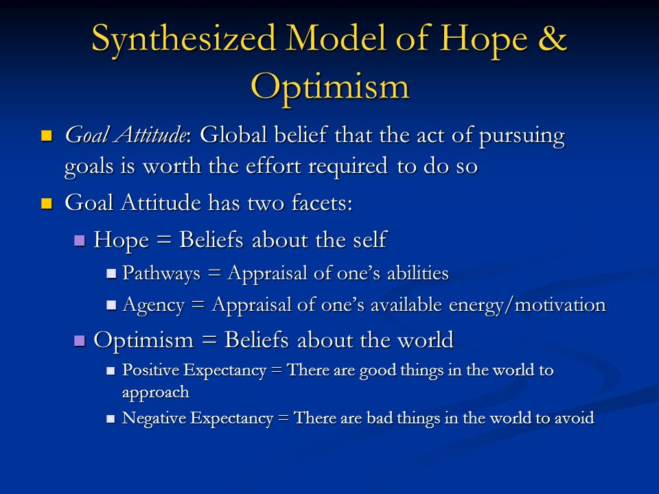 Synthesized Model of Hope & Optimism