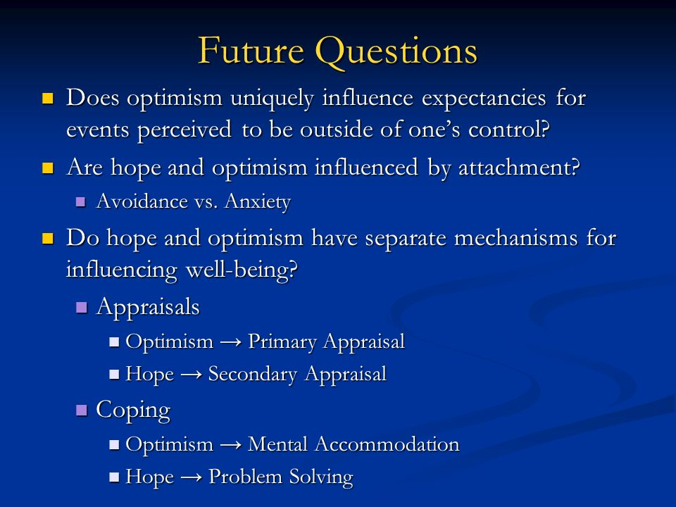 Future Questions Does optimism uniquely influence expectancies for events perceived to be outside of one's control