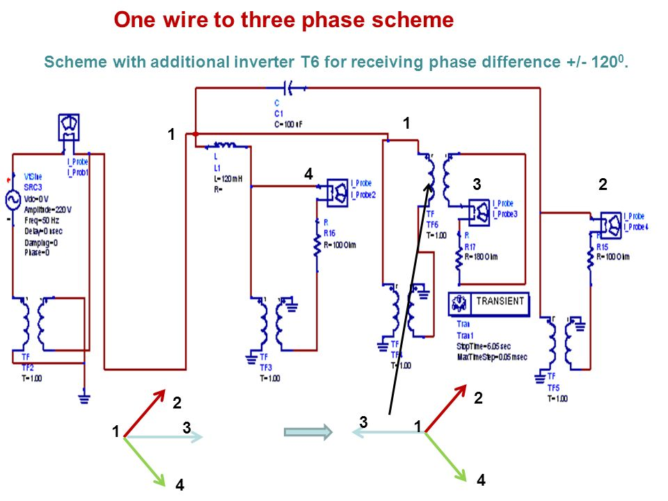 One wire to three phase scheme