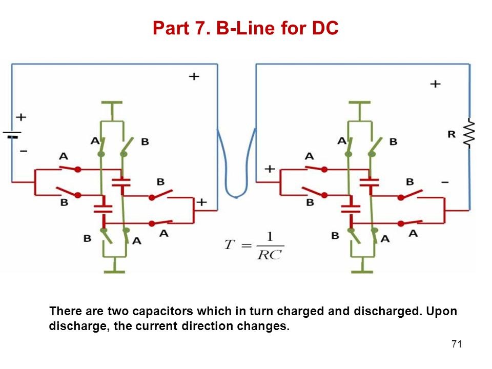 Part 7. B-Line for DC There are two capacitors which in turn charged and discharged.