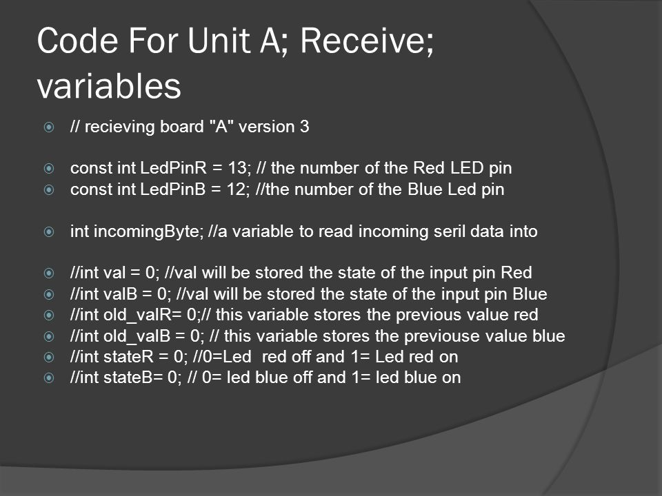 Code For Unit A; Receive; variables