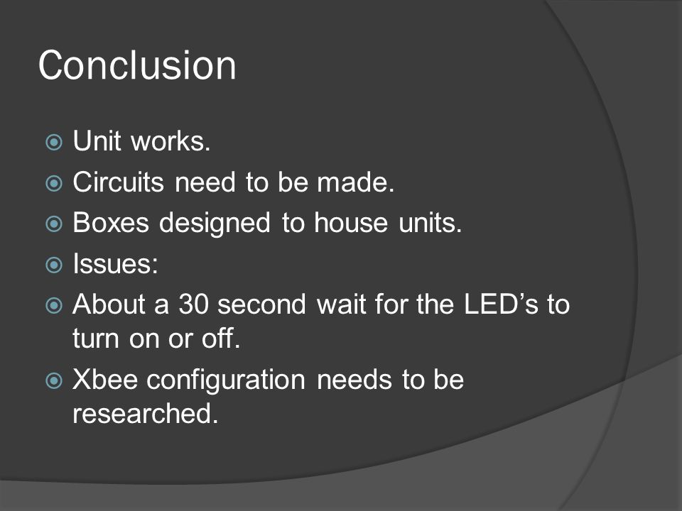 Conclusion Unit works. Circuits need to be made.