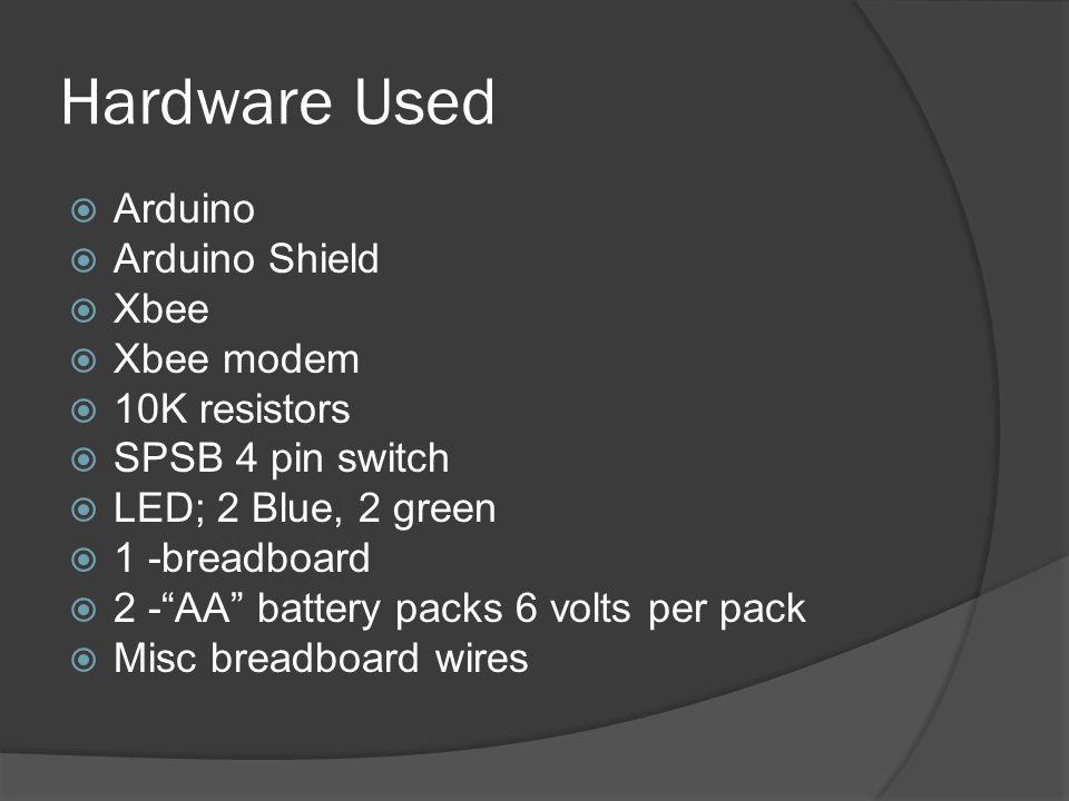 Hardware Used Arduino Arduino Shield Xbee Xbee modem 10K resistors