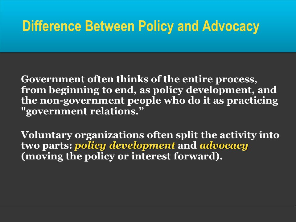 Difference Between Policy and Advocacy