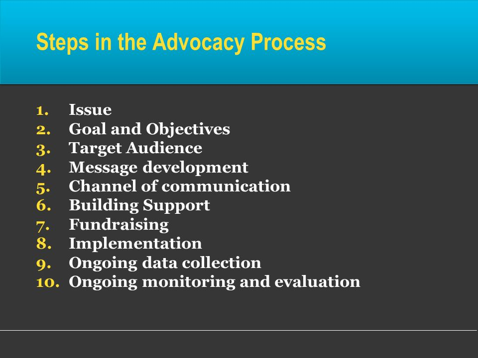 Steps in the Advocacy Process