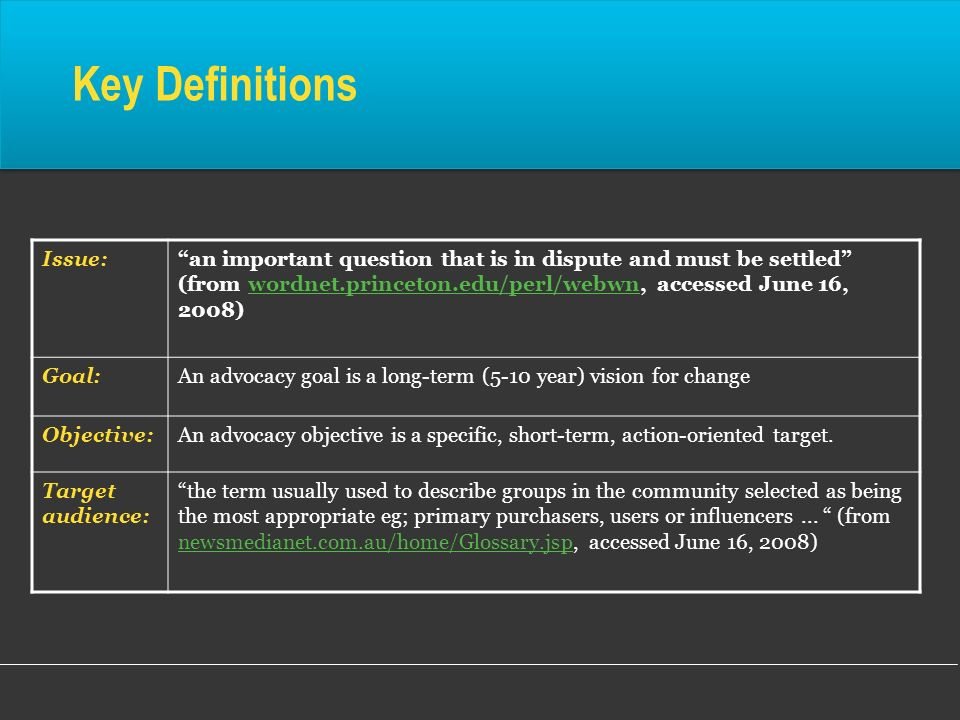 Key Definitions Issue: