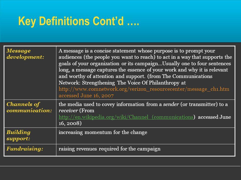 Key Definitions Cont'd ….