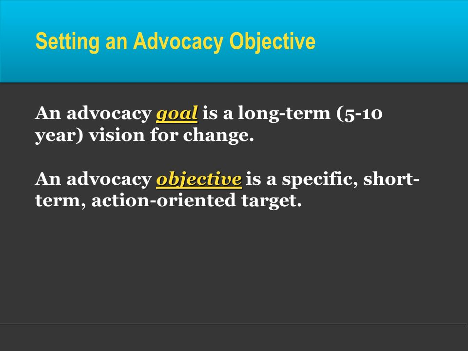 Setting an Advocacy Objective