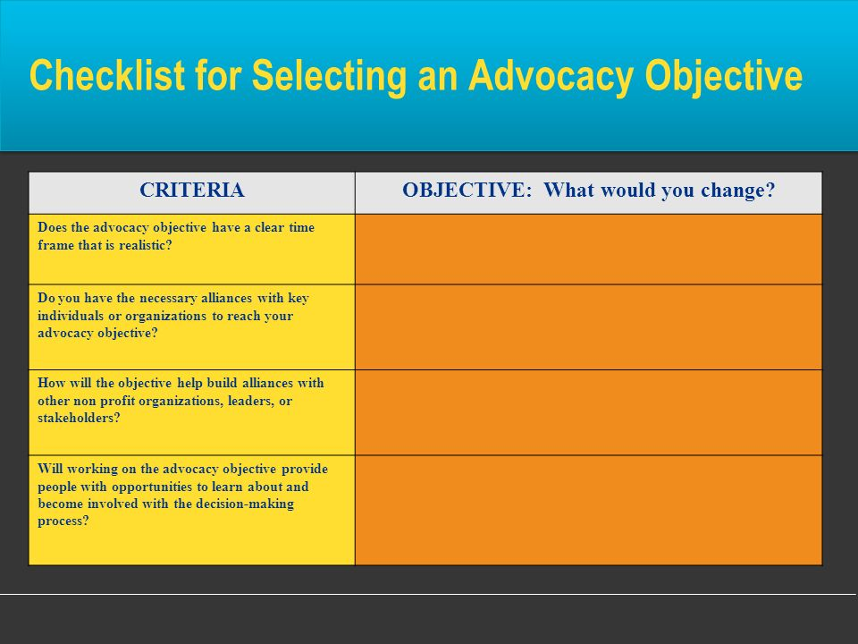 Checklist for Selecting an Advocacy Objective
