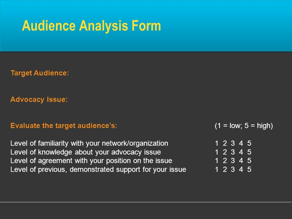 Audience Analysis Form