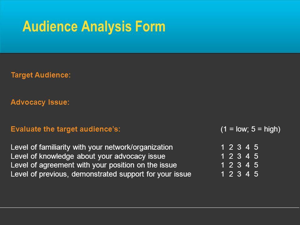 Audience Analysis Form