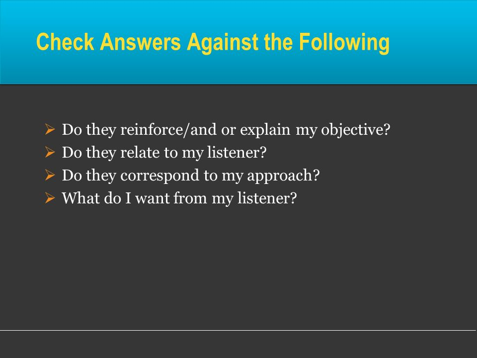Check Answers Against the Following