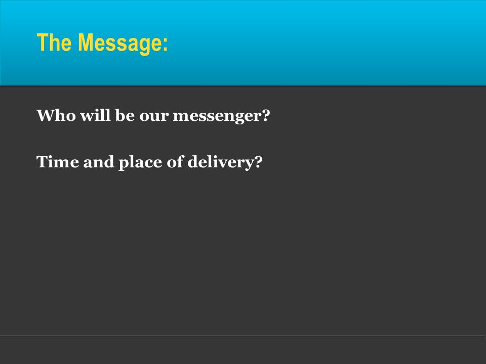 The Message: Who will be our messenger Time and place of delivery