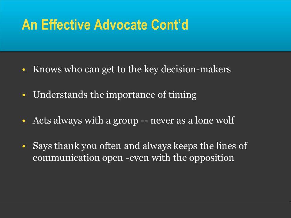 An Effective Advocate Cont'd