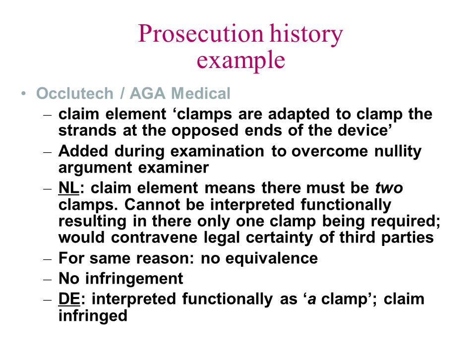 Prosecution history example