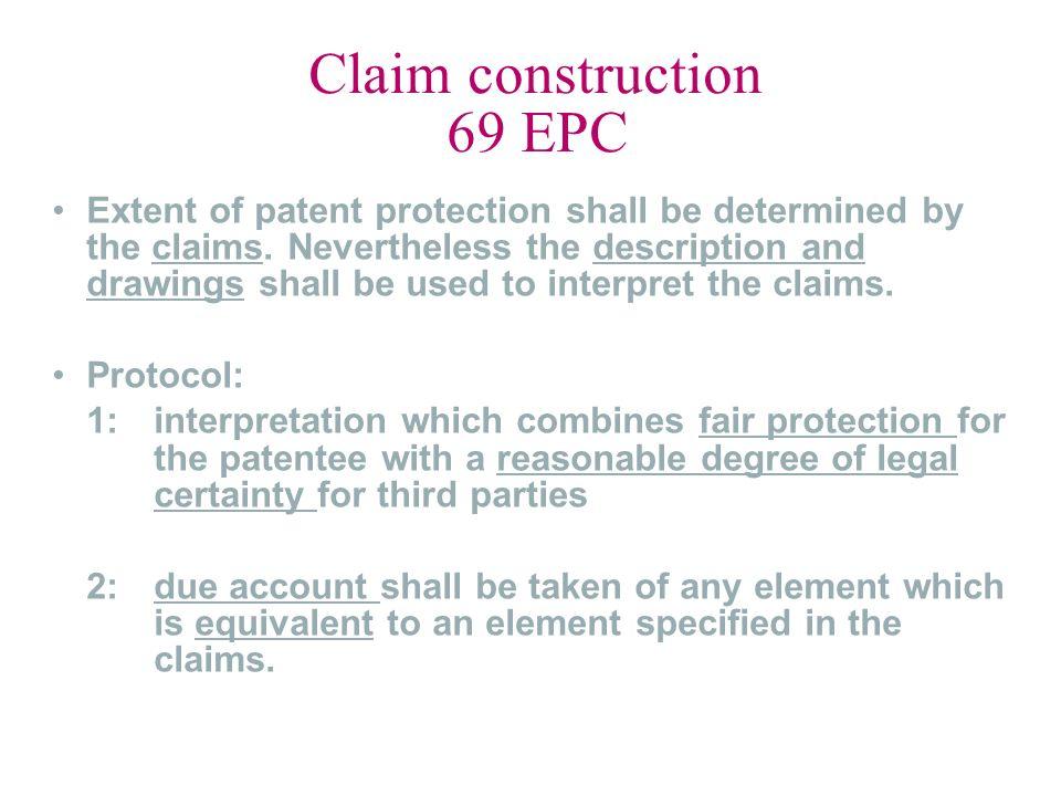 Claim construction 69 EPC