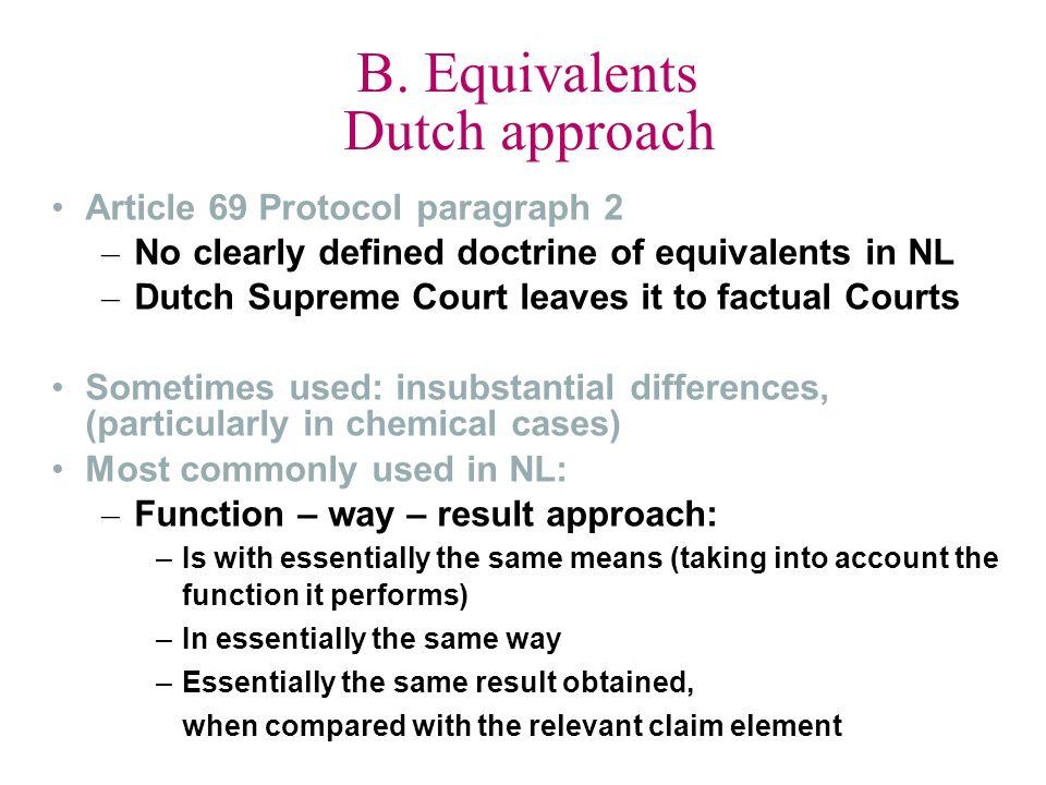 B. Equivalents Dutch approach
