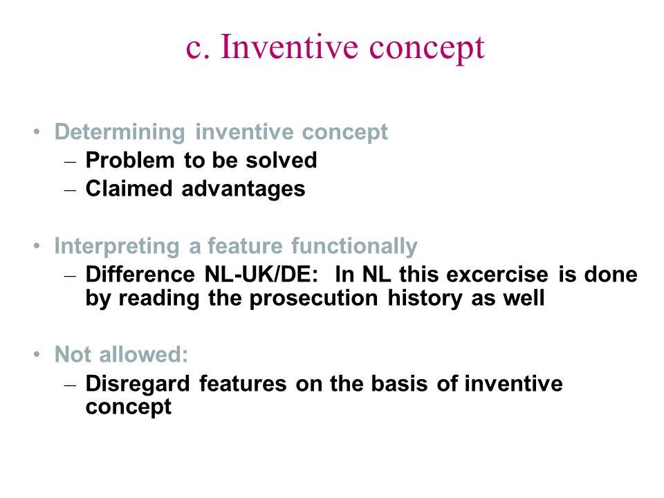 c. Inventive concept Determining inventive concept