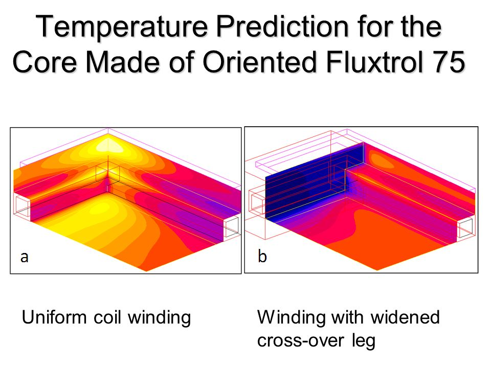 Temperature Prediction for the Core Made of Oriented Fluxtrol 75