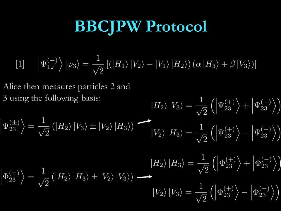 BBCJPW Protocol Alice then measures particles 2 and 3 using the following basis: