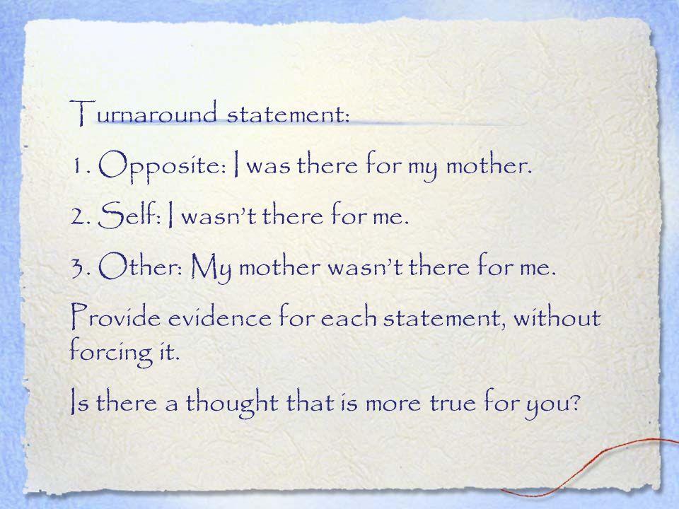 Turnaround statement: