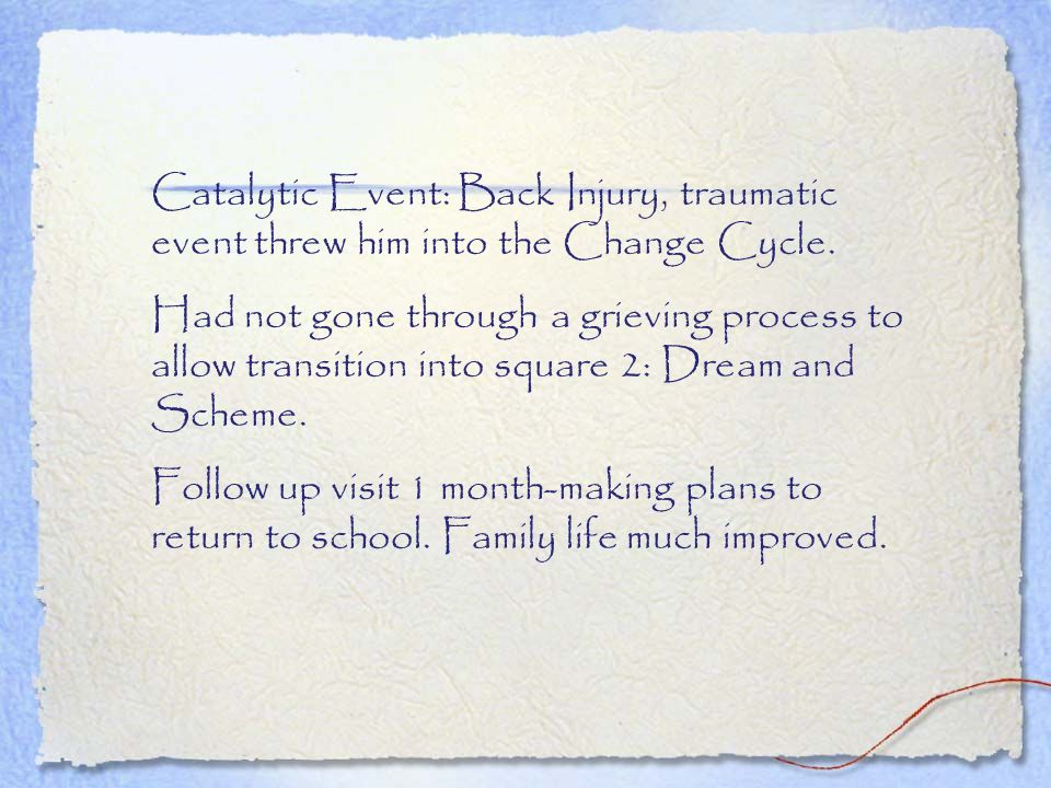 Catalytic Event: Back Injury, traumatic event threw him into the Change Cycle.