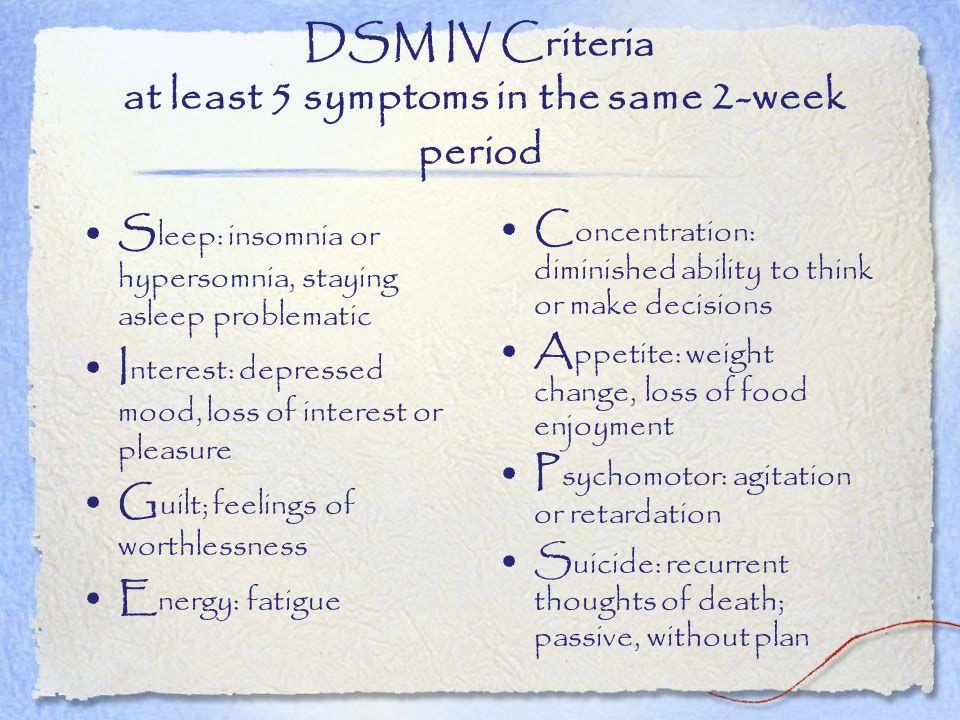 DSM IV Criteria at least 5 symptoms in the same 2-week period
