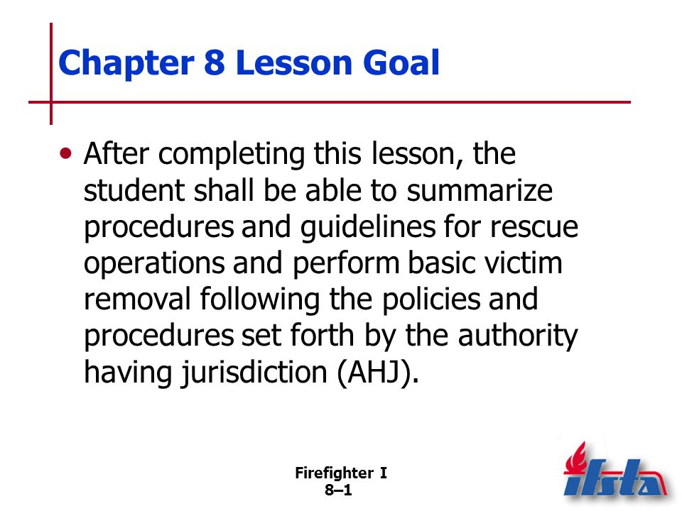 Chapter 8 Lesson Goal