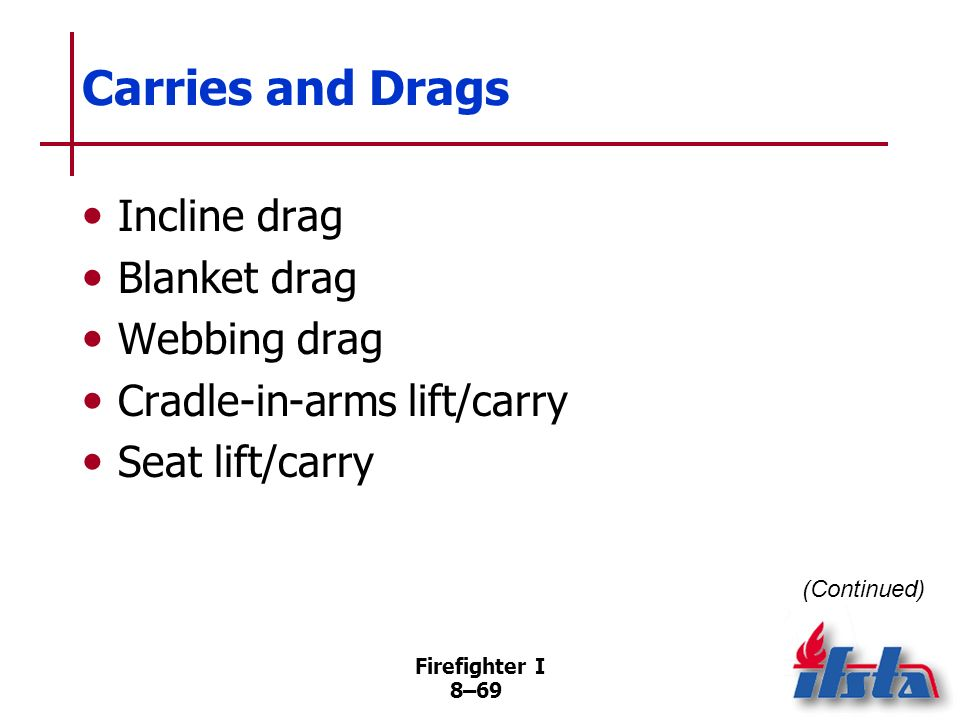 Carries and Drags Incline drag Blanket drag Webbing drag