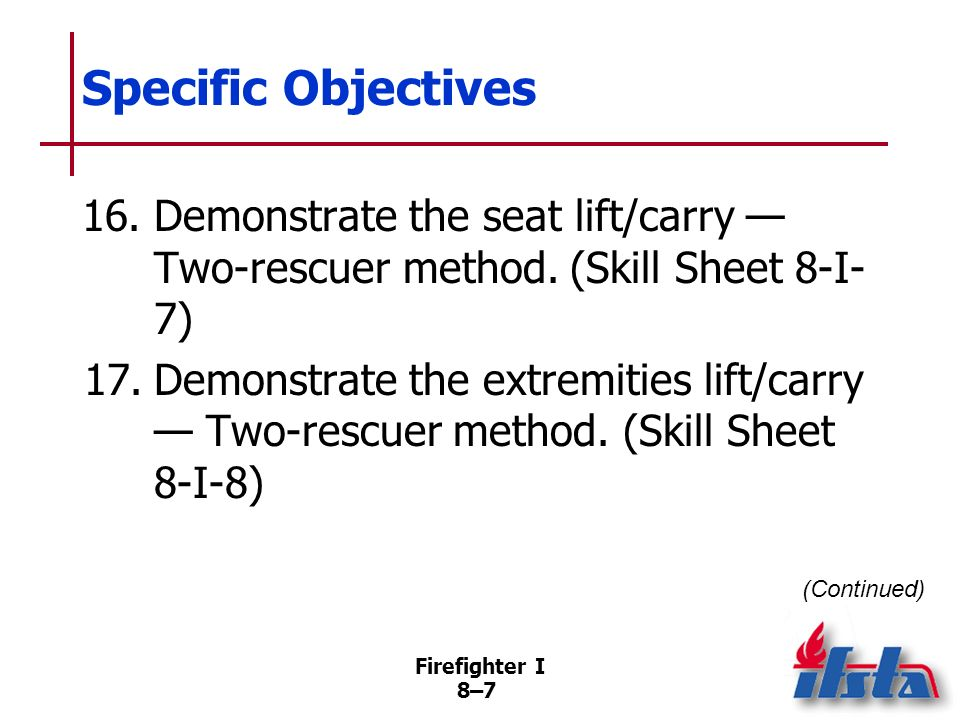 Specific Objectives 16. Demonstrate the seat lift/carry — Two-rescuer method. (Skill Sheet 8-I-7)
