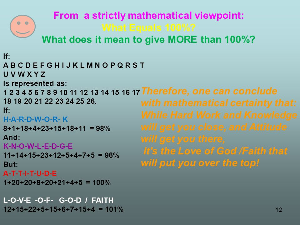 From a strictly mathematical viewpoint: What Equals 100%