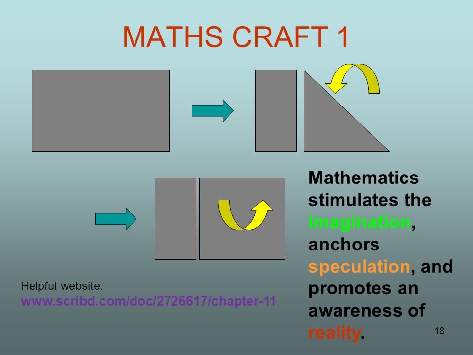 MATHS CRAFT 1 Mathematics stimulates the imagination, anchors speculation, and promotes an awareness of reality.
