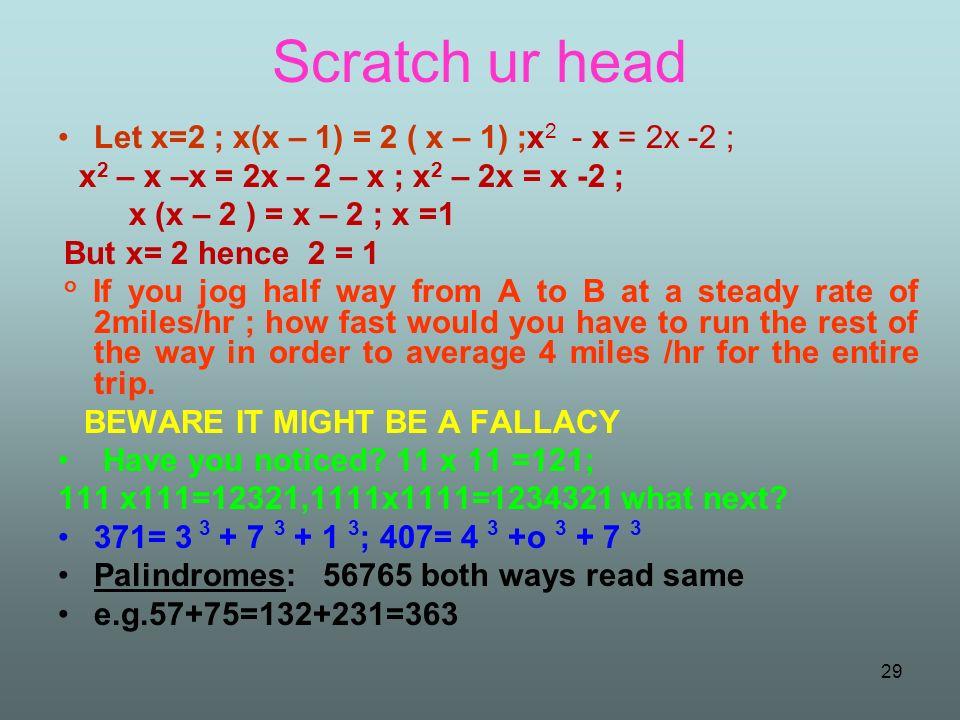 Scratch ur head Let x=2 ; x(x – 1) = 2 ( x – 1) ;x2 - x = 2x -2 ;