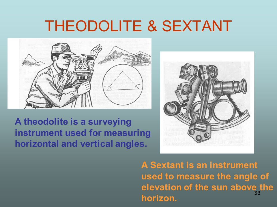 THEODOLITE & SEXTANT A theodolite is a surveying instrument used for measuring horizontal and vertical angles.