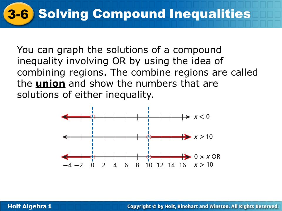 You can graph the solutions of a compound inequality involving OR by using the idea of combining regions. The combine regions are called the union and show the numbers that are solutions of either inequality.