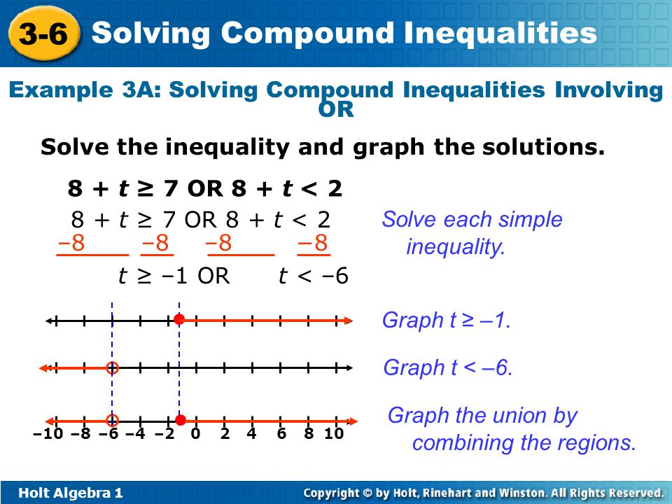 Example 3A: Solving Compound Inequalities Involving OR