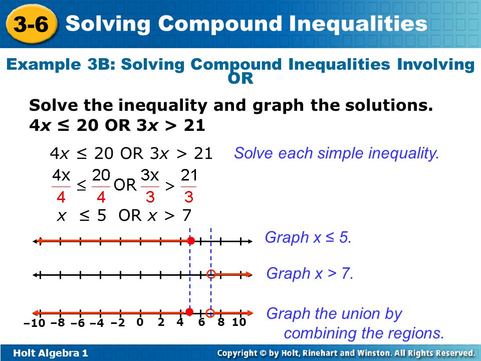 Example 3B: Solving Compound Inequalities Involving OR