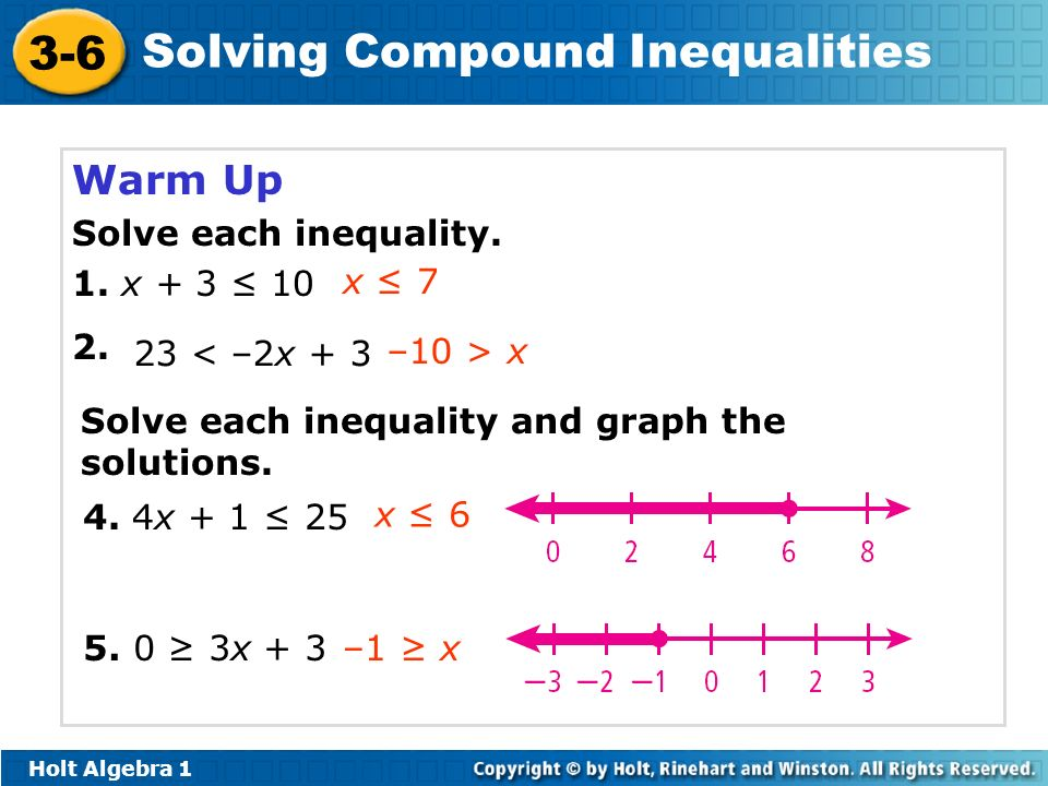 Warm Up Solve each inequality. 1. x + 3 ≤ 10 2. x ≤ 7 23 < –2x + 3