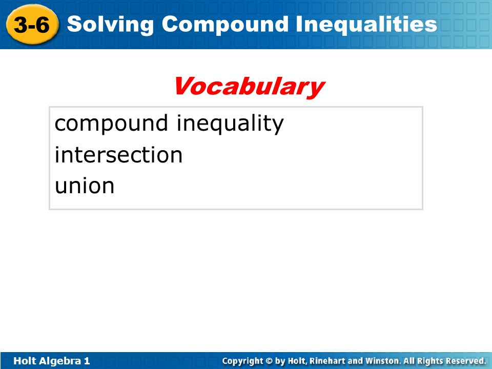 Vocabulary compound inequality intersection union