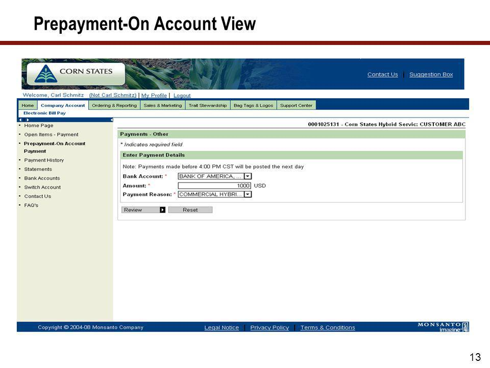 Prepayment-On Account View