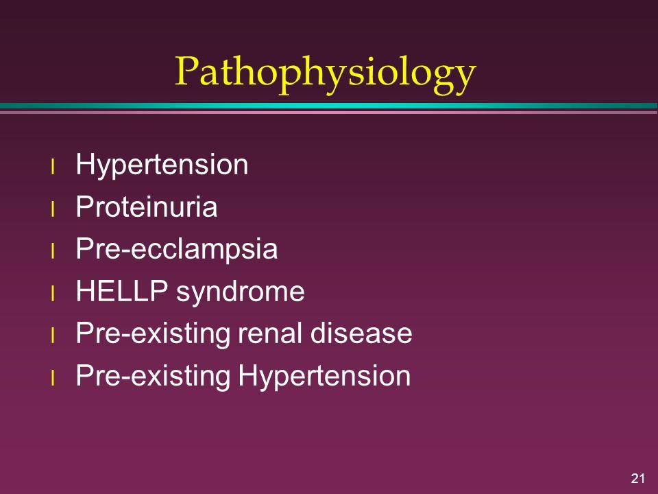 Pathophysiology Hypertension Proteinuria Pre-ecclampsia HELLP syndrome