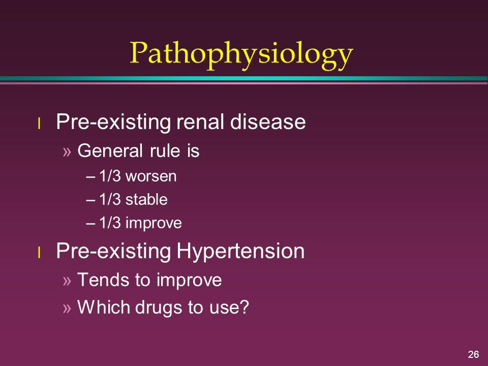Pathophysiology Pre-existing renal disease Pre-existing Hypertension